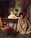 jules trayer famous paintings - the lesson by jules trayer