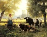 julien dupre art - a milkmaid with her cows on a summer day by julien dupre