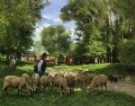 julien dupre art - a shepherd and his flock by julien dupre