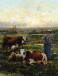 julien dupre art - a shepherdess with cows and sheep in a landscape by julien dupre