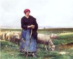 julien dupre famous paintings - a shepherdess with her flock by julien dupre