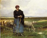 julien dupre art - a shepherdess with her flock by julien dupre