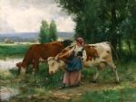 julien dupre famous paintings - femme et vaches par l eau by julien dupre