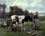 julien dupre famous paintings - milkmaids in the field by julien dupre