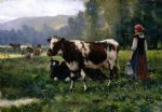 julien dupre famous paintings - paysage avec animaux by julien dupre