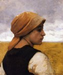 julien dupre art - peasant woman in profile by julien dupre