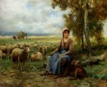 shepherdess watching over her flock by julien dupre painting