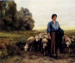 shepherdess with her flock by julien dupre painting