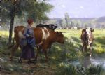 julien dupre famous paintings - the young milkmaid by julien dupre
