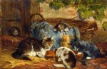 the kittens supper by julius adam painting