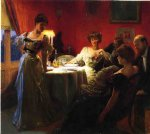 a supper party by julius leblanc stewart watercolor paintings