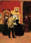 julius leblanc stewart count ludovic leic and ladies viewing an exhibition painting