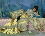 lady on a pink divan by julius leblanc stewart painting