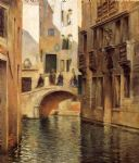julius leblanc stewart watercolor paintings - venetian canal by julius leblanc stewart