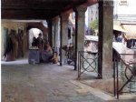 venetian market scene by julius leblanc stewart watercolor paintings