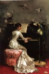 julius leblanc stewart young woman at piano paintings
