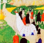 kasimir malevich watercolor paintings - the wedding by kasimir malevich