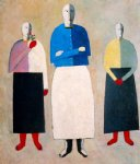 kasimir malevich watercolor paintings - three women by kasimir malevich