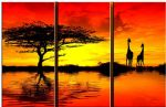 famous watercolor paintings - african sunset ii by landscape