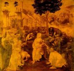 adoration of the magi by leonardo da vinci painting