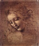leonardo da vinci watercolor paintings - female head by leonardo da vinci