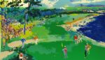 leroy neiman art - 18th at pebble beach by leroy neiman