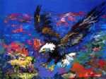 american acrylic paintings - american bald eagle by leroy neiman
