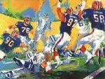 owl watercolor paintings - cowboys bills superbowl by leroy neiman