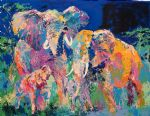 framed paintings - elephant family by leroy neiman