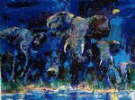 elephant acrylic paintings - elephant nocturne by leroy neiman