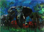 leroy neiman elephant stampede paintings