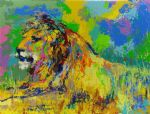 resting lion by leroy neiman painting