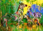 zebra original paintings - zebra family by leroy neiman