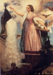 girl acrylic paintings - a girl feeding peacocks by lord frederick leighton