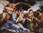 lorenzo lotto acrylic paintings - madonna and child with saints and an angel by lorenzo lotto