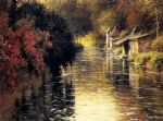 a french river landscape by louis aston knight watercolor paintings