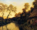a french river landscape at sunset by louis aston knight watercolor paintings