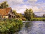 cottage by the river by louis aston knight painting