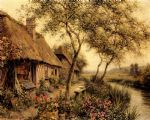 cottages beside a river by louis aston knight watercolor paintings