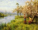 country women after fishing on a summer s day by louis aston knight watercolor paintings