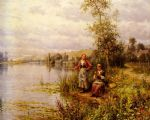 country women fishing on a summer afternoon by louis aston knight watercolor paintings