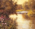 spring blossoms along a meandering river by louis aston knight painting