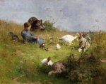 luigi chialiva original paintings - a young girl with a flock of turkeys by luigi chialiva