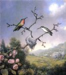 martin johnson heade hummingbirds and apple blossoms painting