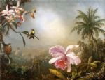 butterfly acrylic paintings - orchids nesting hummingbirds and a butterfly by martin johnson heade