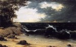 martin johnson heade watercolor paintings - storm clouds over the coast by martin johnson heade