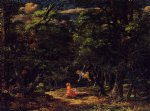 children watercolor paintings - the swing children in the woods by martin johnson heade