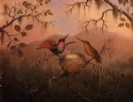 martin johnson heade two hummingbirds at a nest posters