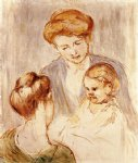 mary cassatt a baby smiling at two young women painting 28819