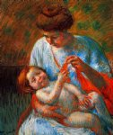 baby famous paintings - baby lying on his mother s lap reaching to hold a scarf by mary cassatt